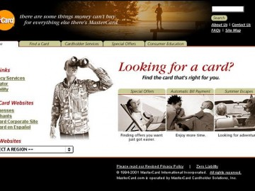 Master Card Website - Homepage